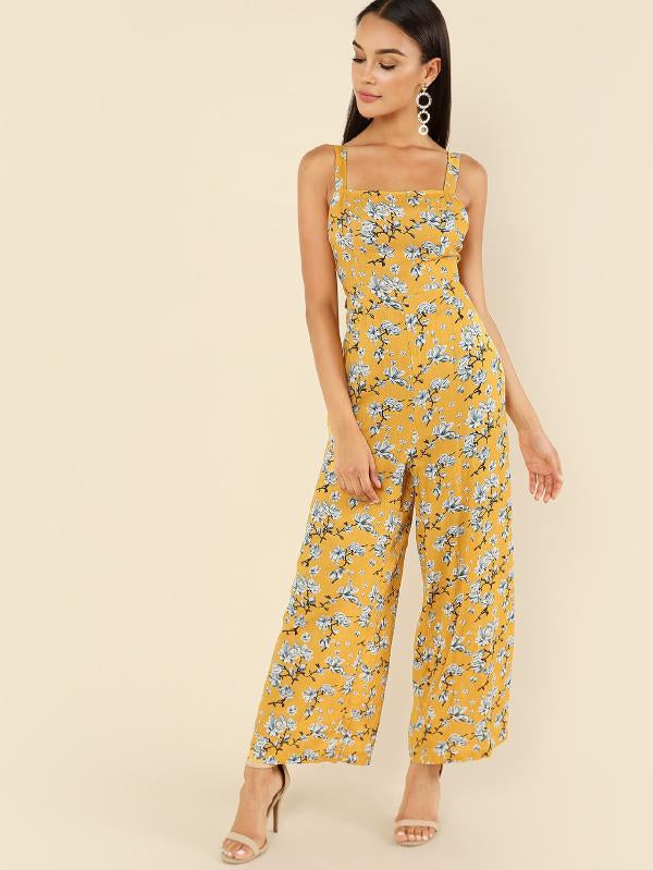 RZX Thick Strap Floral Palazzo Jumpsuit