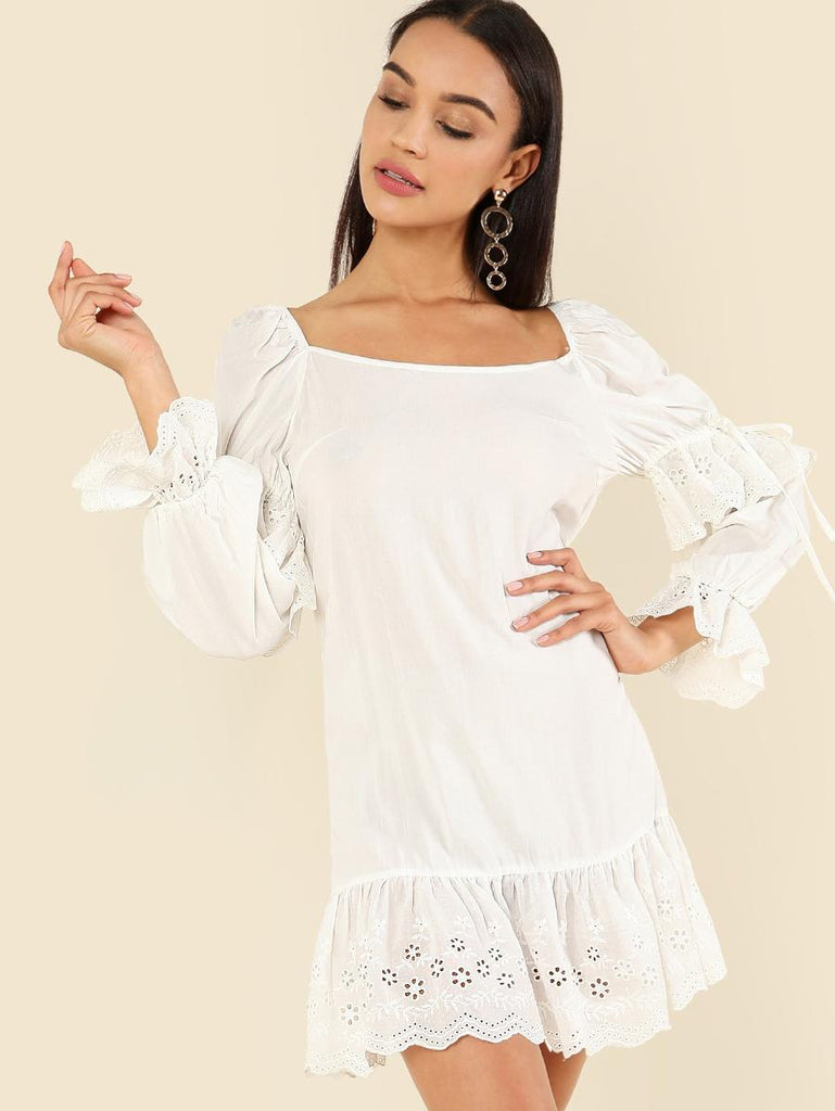 Eyelet Embroidered Ruffle Trim Dress