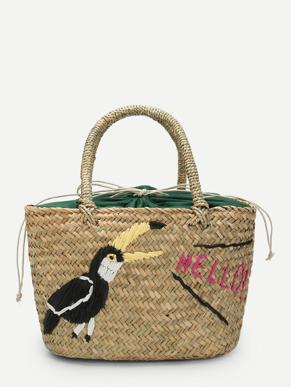 Bird Pattern Woven Tote Bag