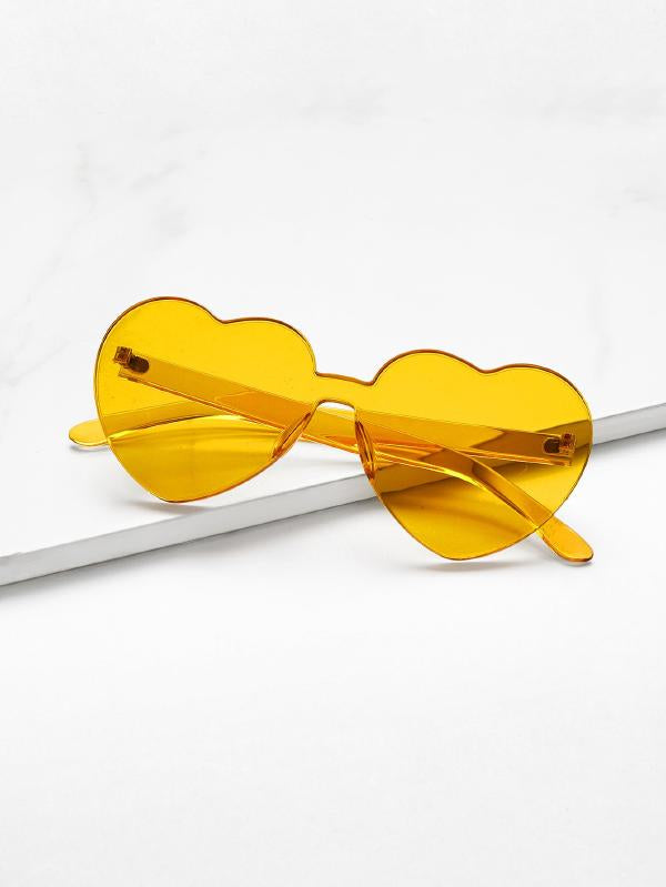 Heart Shaped Lens Rimless Sunglasses
