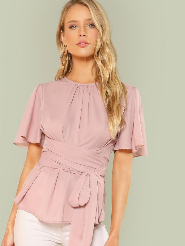 Pleated Front Self Belted Blouse