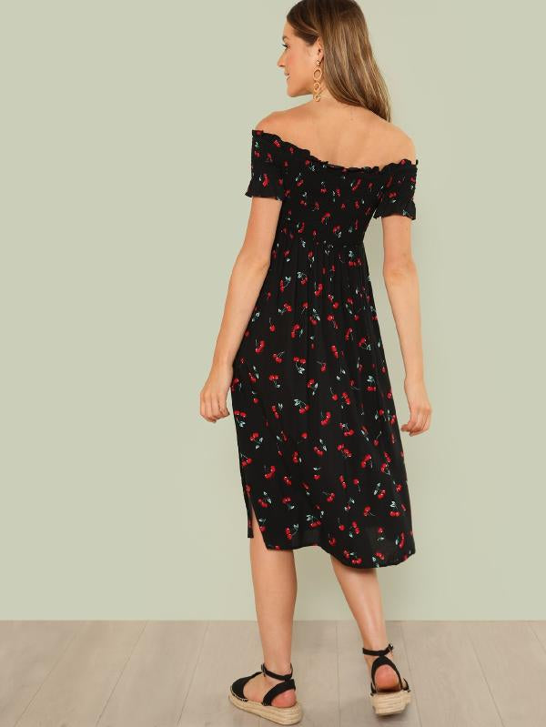 Cherry Print Slit Bardot Dress