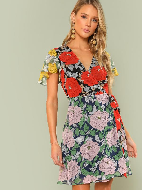 RZX  Knot Side Flutter Sleeve Flower Print Dress