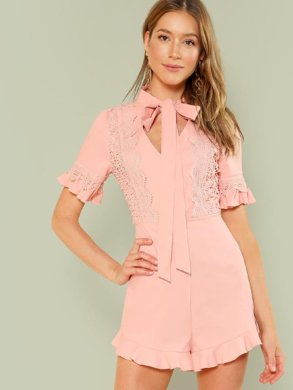 Lace Applique Ruffle Trim Romper