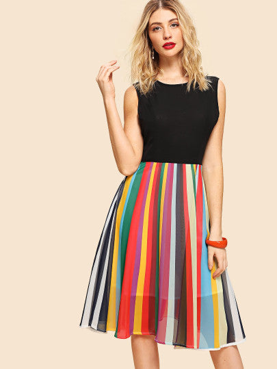Cut And Sew Striped Shell Dress