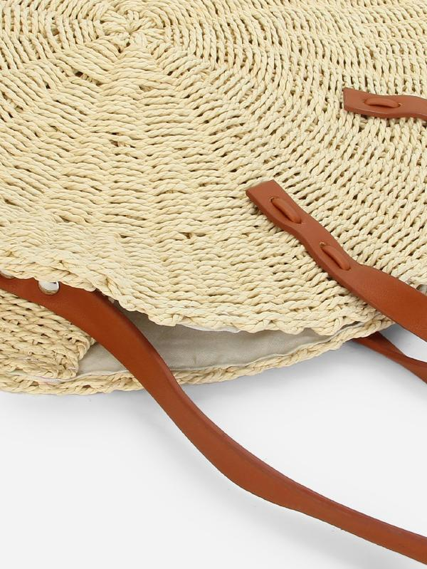 Round Shaped Straw Bag With Convertible Strap