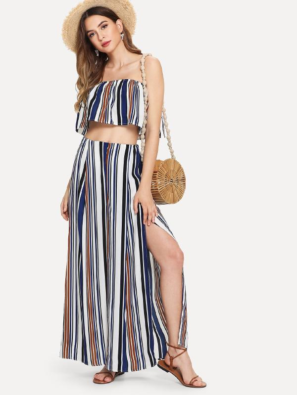 RZX  Striped Tube Top With Split Pants