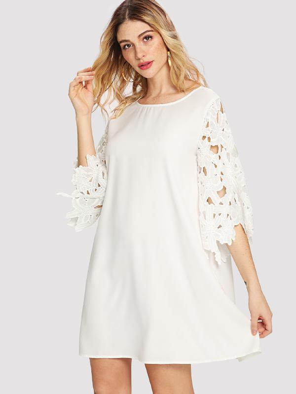 Guipure Lace Sleeve Tunic Dress