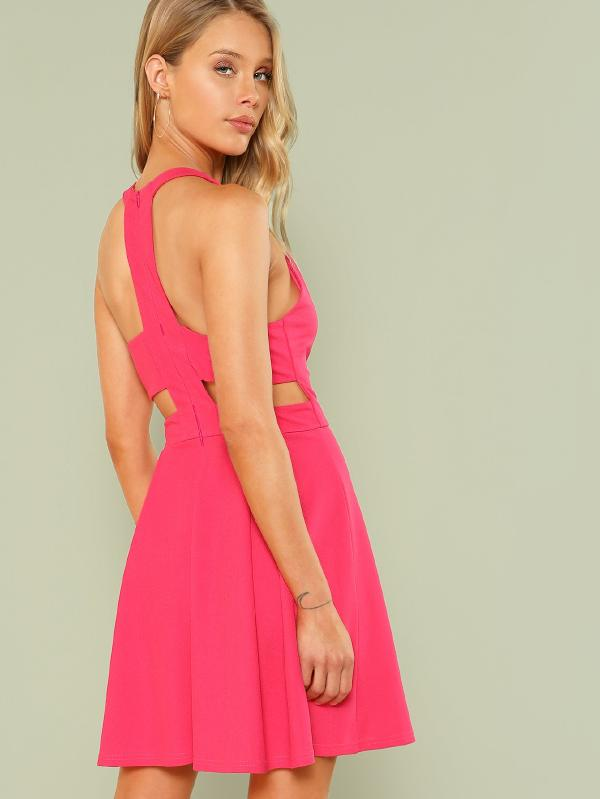 Cut Out Y-Back Box Pleated Dress