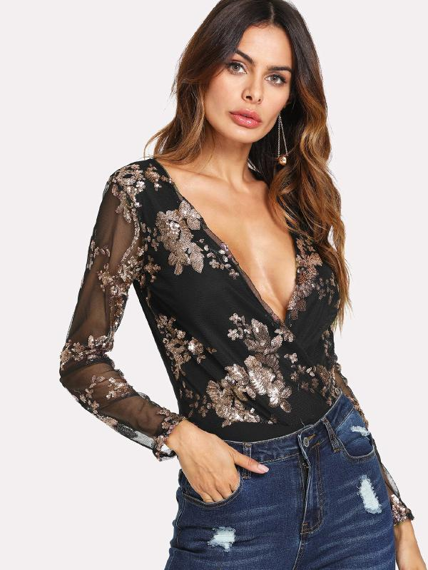 Contrast Sequin Sheer Sleeve Bodysuit