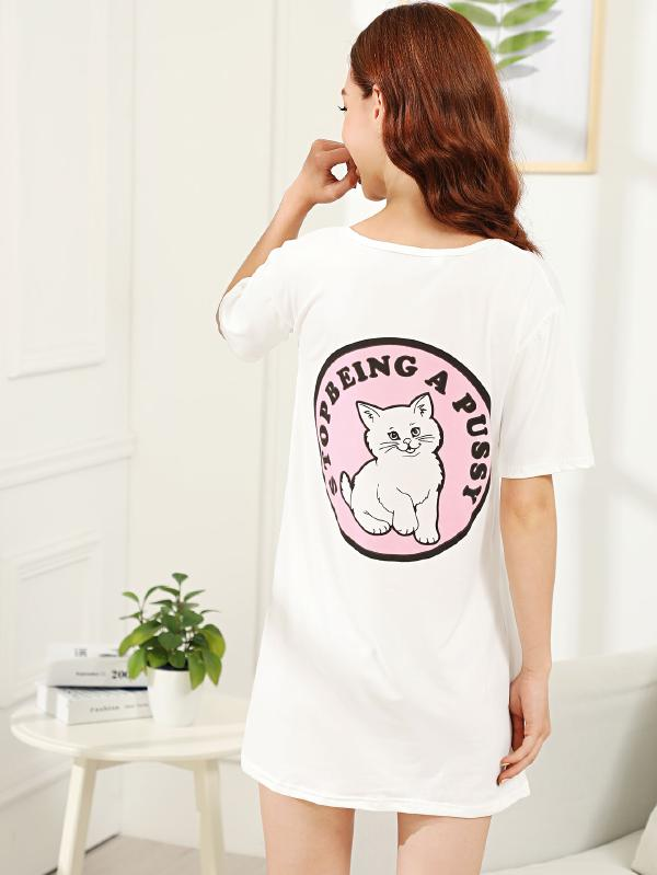 Cat & Letter Print Night Dress