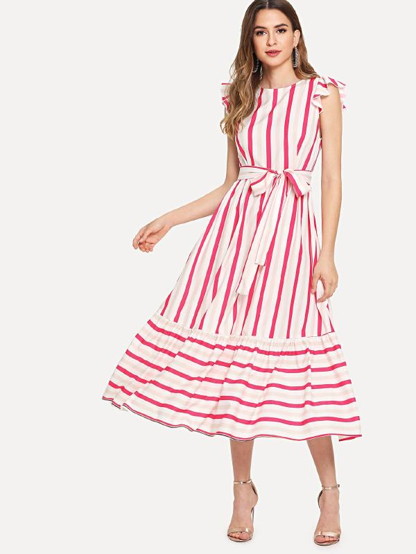 Self Belted Ruffle Trim Striped Dress