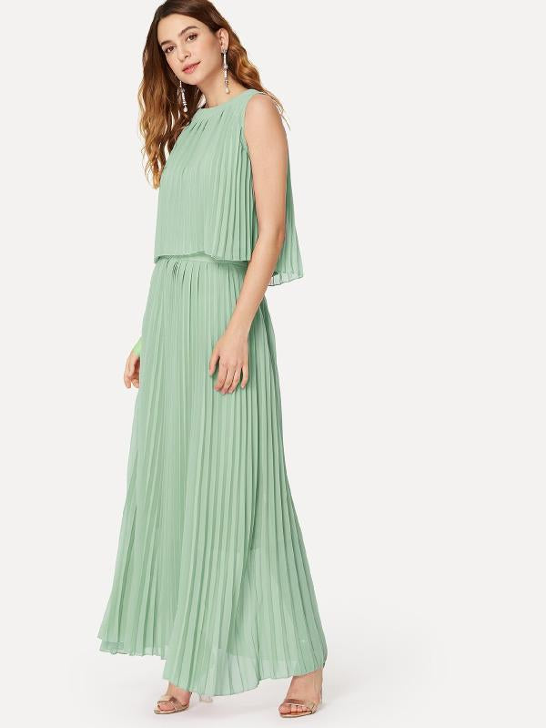Pleated Hem Solid Dress