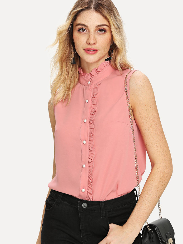 Button Front Frill Detail Shirt