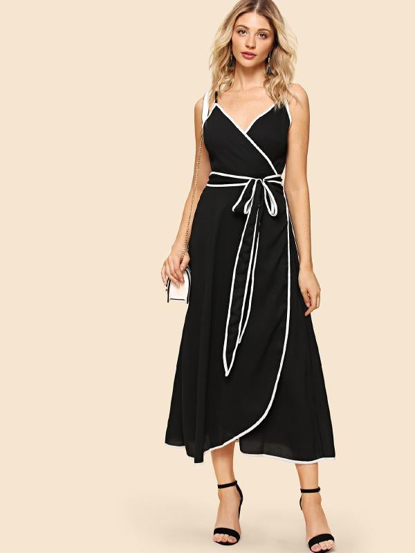 Contrast Binding Wrap Cami Dress
