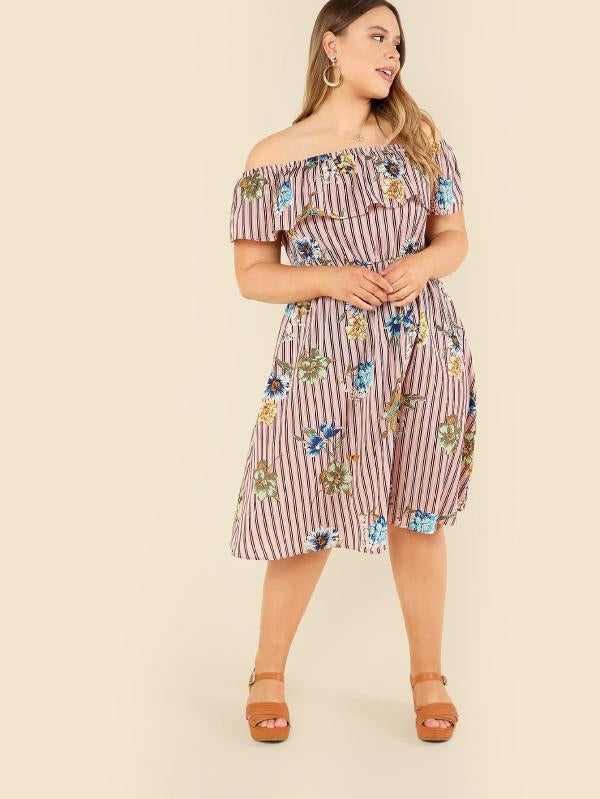 Flower Embroidered Striped Flounce Bardot Dress