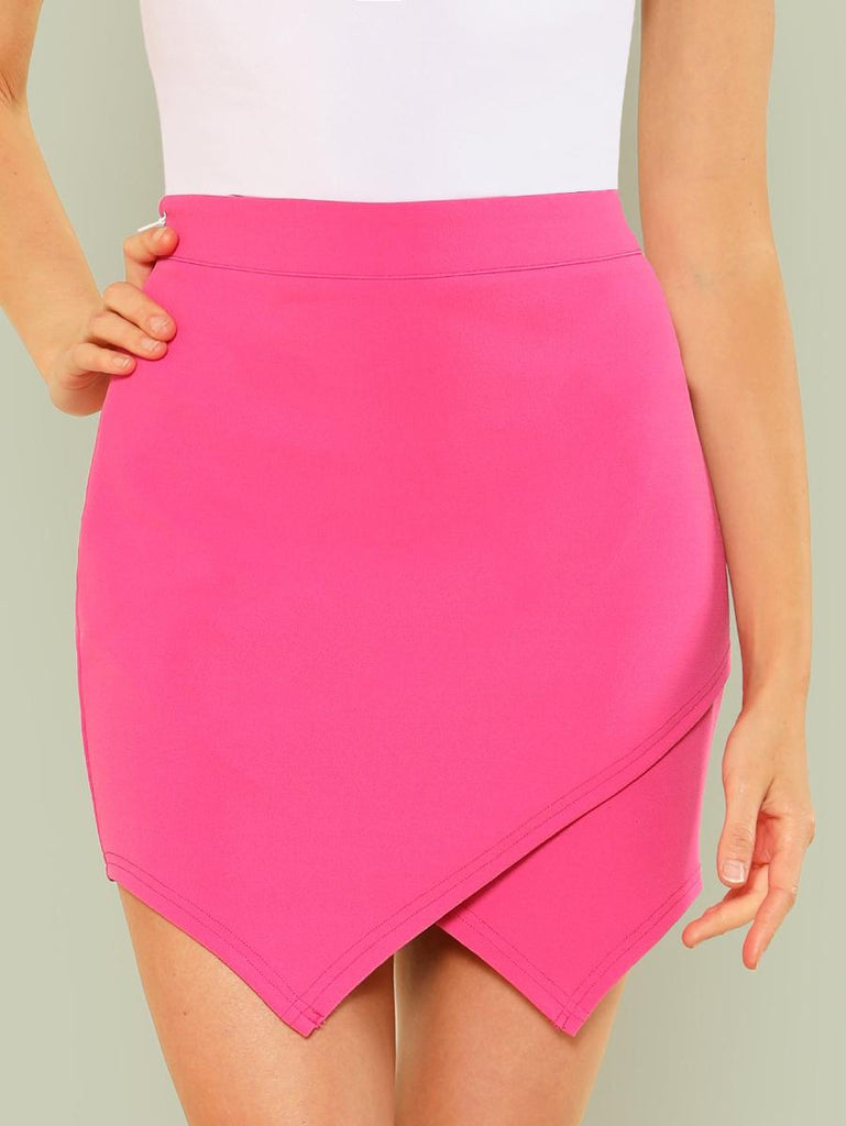 Overlap Front Solid Skirt
