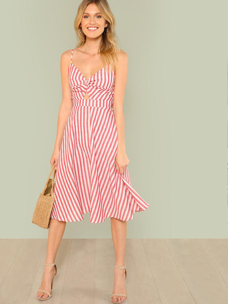 Twist Front Cutout Knot Back Striped Cami Dress