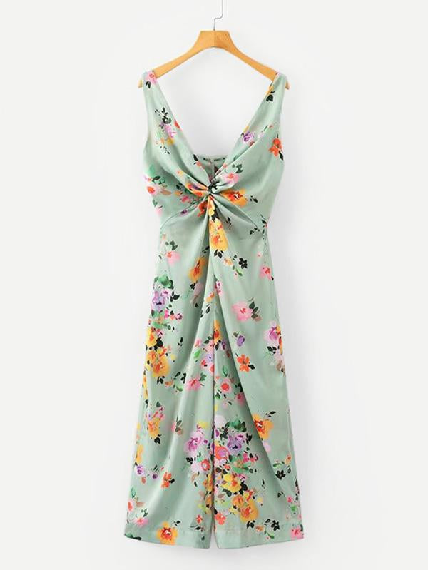All Over Florals Twist Front Wide Jumpsuit
