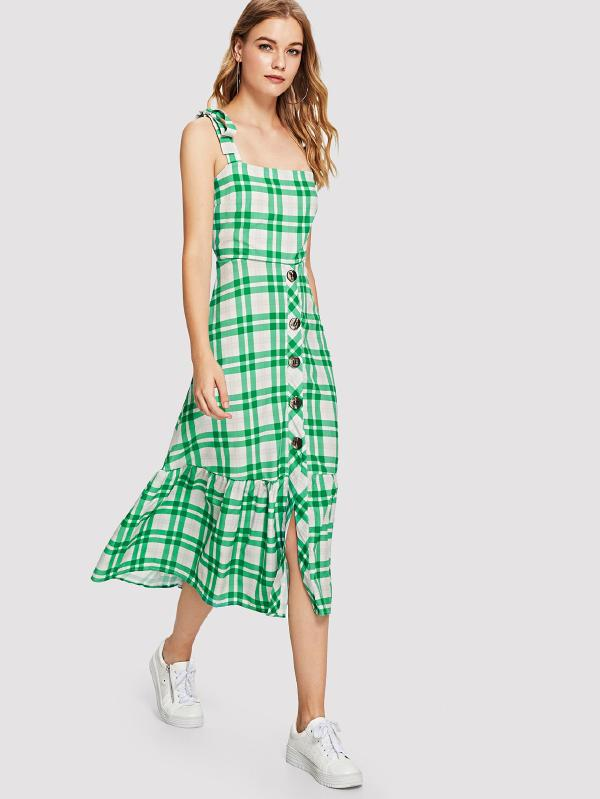 Ruffle Hem Knot Shoulder Checked Dress