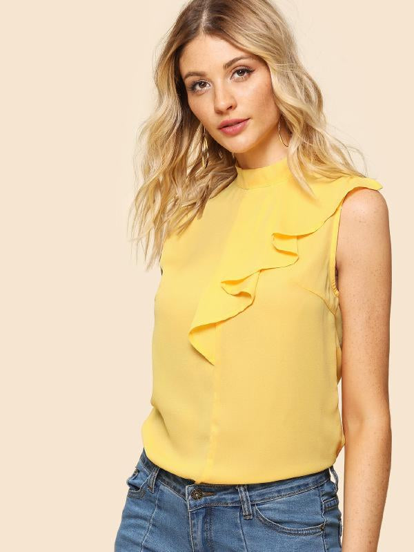 Mock Neck Sleeveless Ruffle Top
