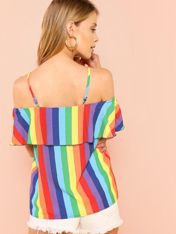 Knot Front Cold Shoulder Rainbow Stripe Top