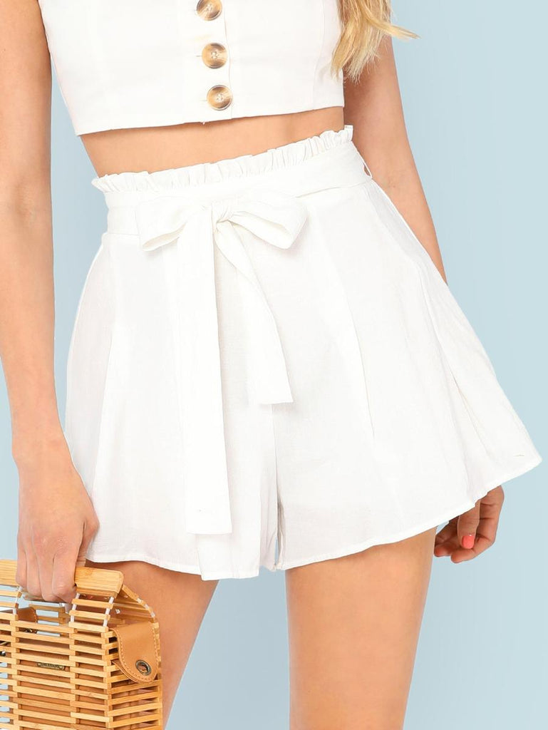 Frill Waist Boxed Pleated Shorts
