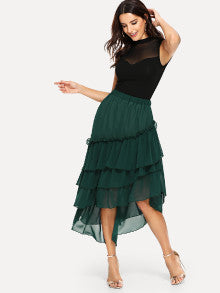 Dip Hem Ruffle Tiered Skirt