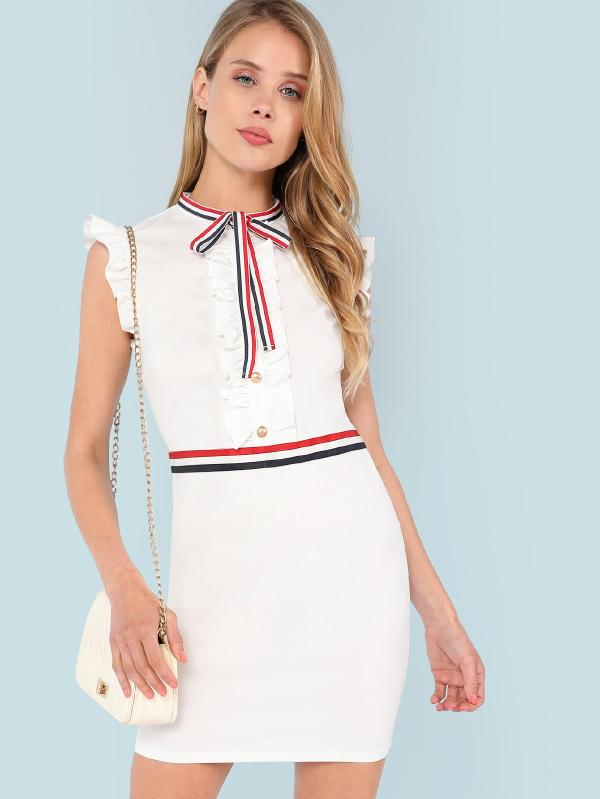 Stripe Tied Neck Frill And Button Embellished Dress