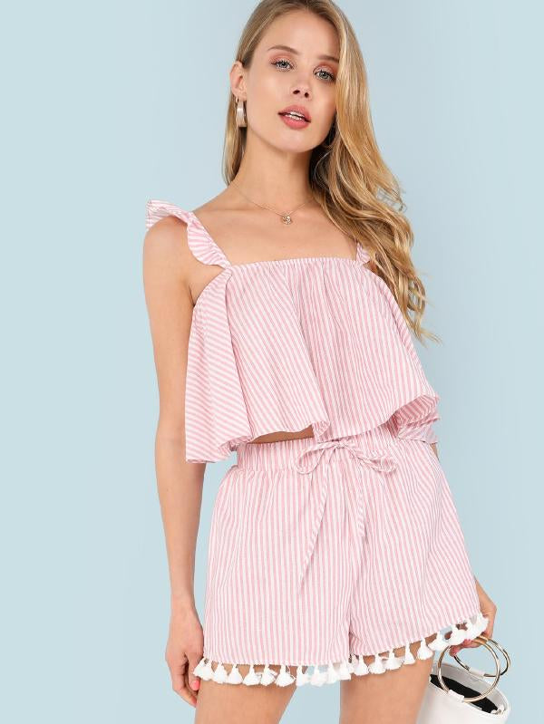 Ruffle Strap Flowy Striped Top & Tasseled Shorts Co-Ord