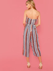 Cut And Sew Cut Out Striped Tube Jumpsuit