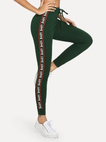 Lettering Tape Side Skinny Sweatpants