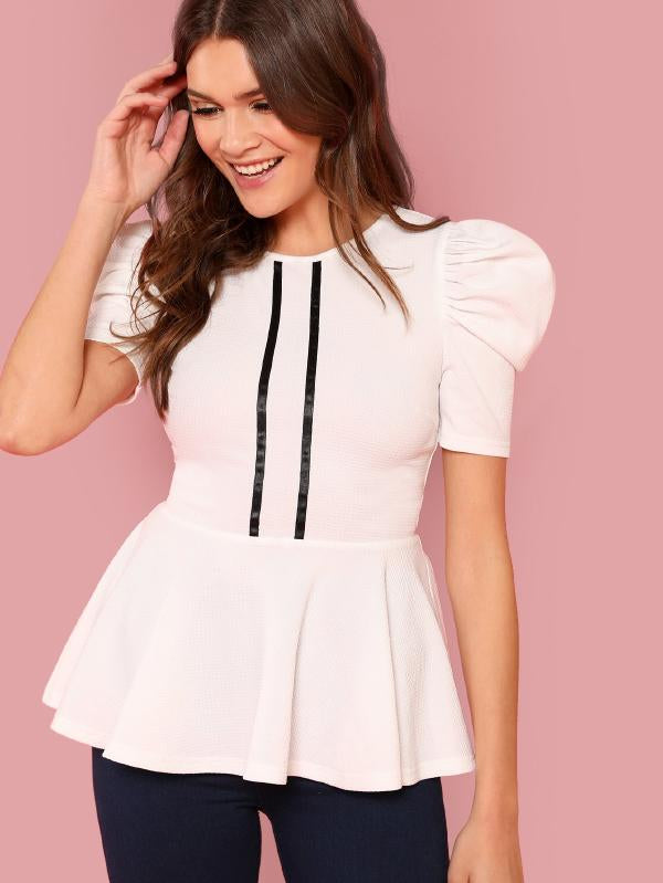 Striped Front Puff Sleeve Peplum Top