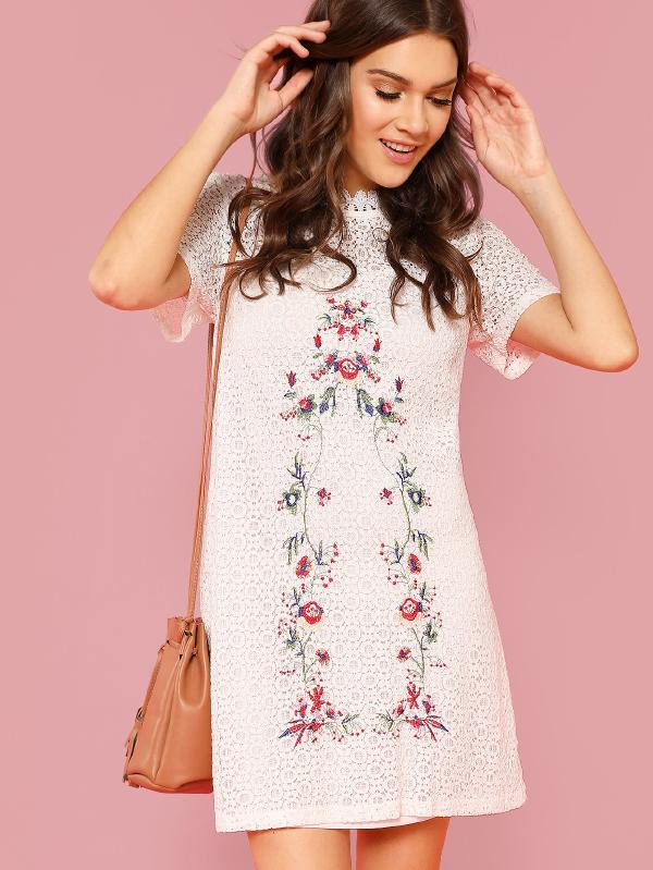 Flower Embroidery Circle Pattern Dress