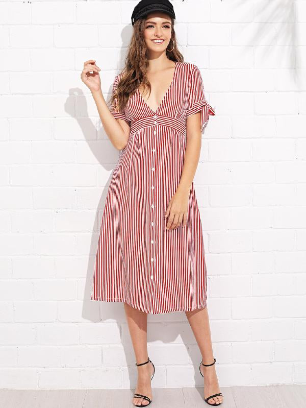 Plunging Neck Knot Cuff Striped Dress