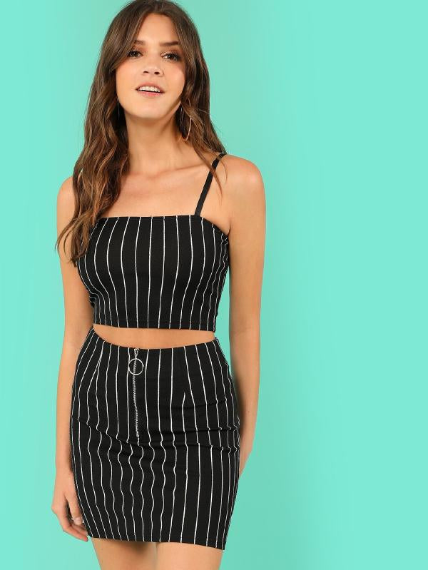 Pinstripe Crop Cami Top & Zip Up Skirt Co-Ord