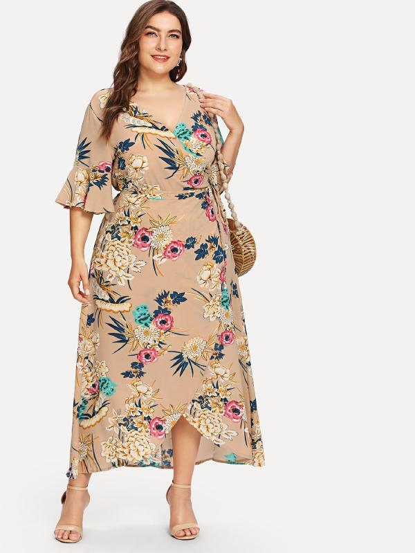 All Over Florals Ruffle Sleeve Wrap Dress