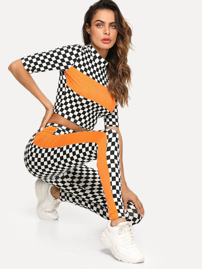 Mock Neck Contrast Tape Plaid Crop Top And Leggings Set