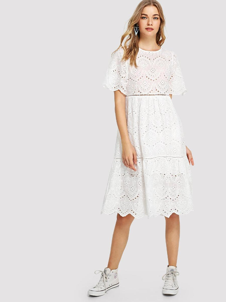 Laddering Lace Insert Eyelet Embroidered Dress