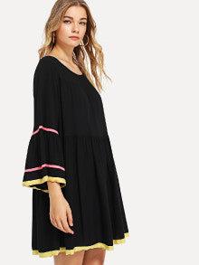 Flounce Sleeve Ribbon Detail Smock Dress