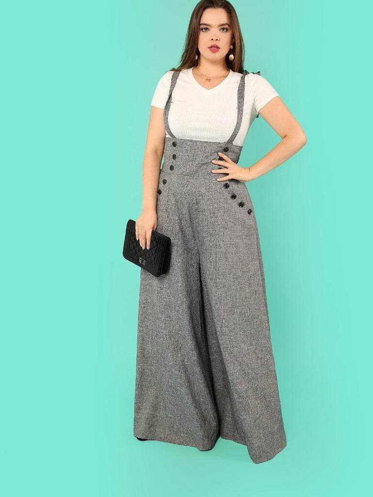 High Waist Button Detail Flare Hem Jumpsuit