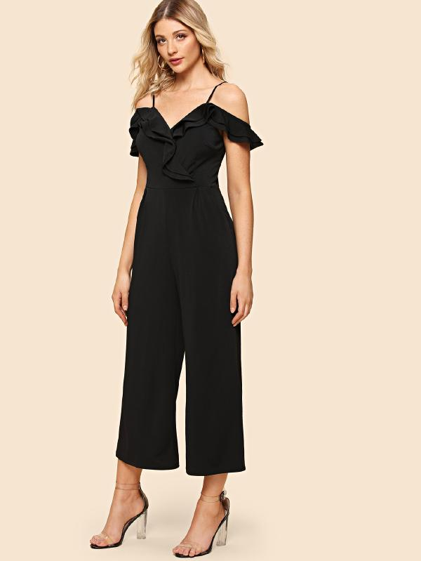 Open Shoulder Ruffle Jumpsuit