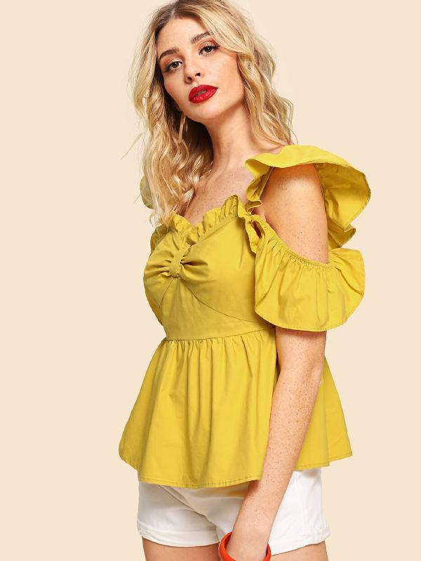 Cold Shoulder Ruffle Trim Backless Ruched Top
