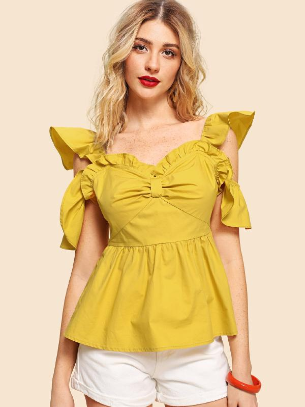 RZX Cold Shoulder Ruffle Trim Backless Ruched Top