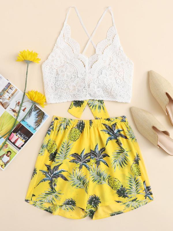 Lace Panel Criss Cross Bow Tie Back Cami Top With Floral Shorts
