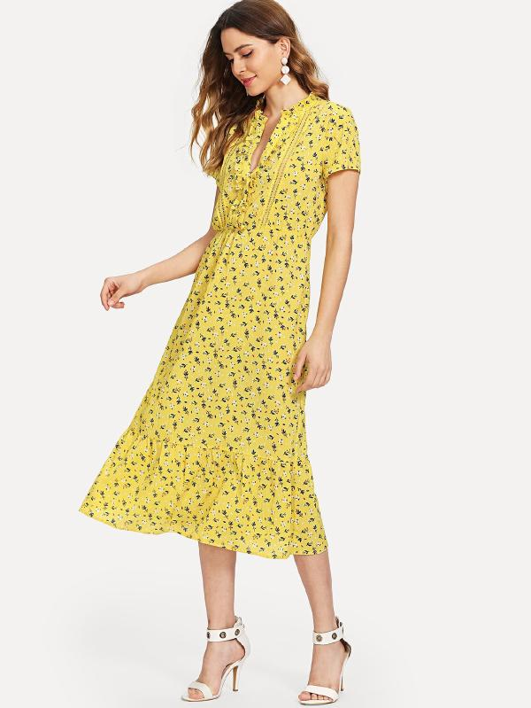 Knotted Ruffle Daisy Print Dress