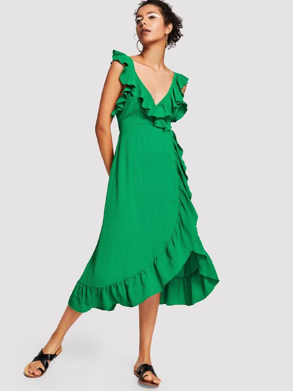 Tied Back Ruffle Wrap Dress
