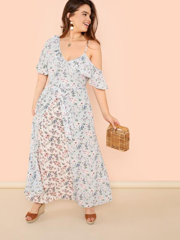 Ruffle Trim Self Belted Floral Maxi Dress