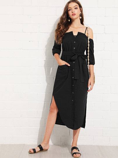 Cold Shoulder Button Up Dress With Belt