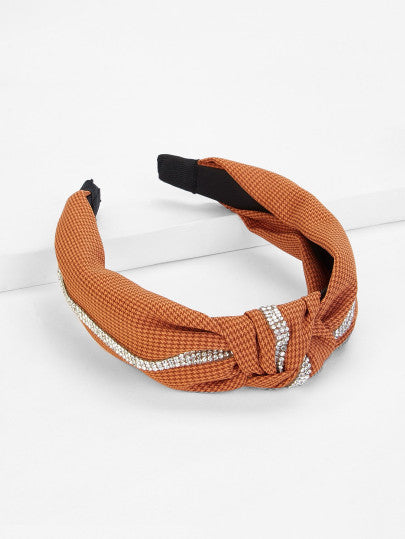 RZX Knot Design Headband With Rhinestone